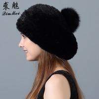 Genuine Fur Mink Hat for Women Genuine Fur Pompom Cap Beret Real Fur Hat Knitted Natural Newest Fur Hats 2018 Winter Beanie
