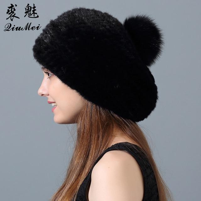 Genuino Cappello Di Pelliccia di Visone per Le Donne Genuino di Pelliccia  Pompon Berretto Reale Cappello 0deb555dc500