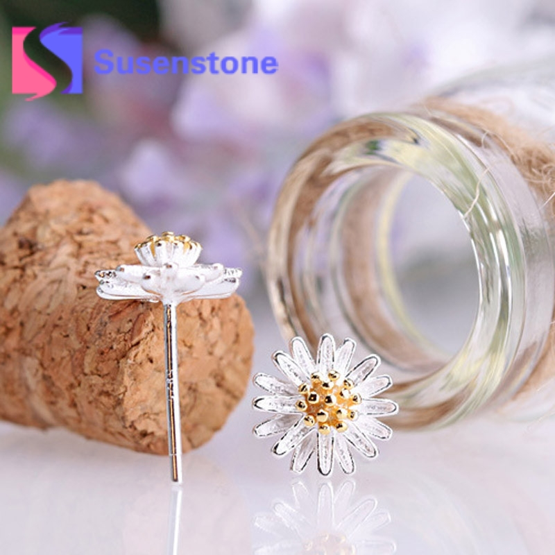 2017 New Arrival Fashion Cute Daisy Flower Ear Stud Jewelry Stud Earrings for Women Girls Earring Ear Stud Freeshipping