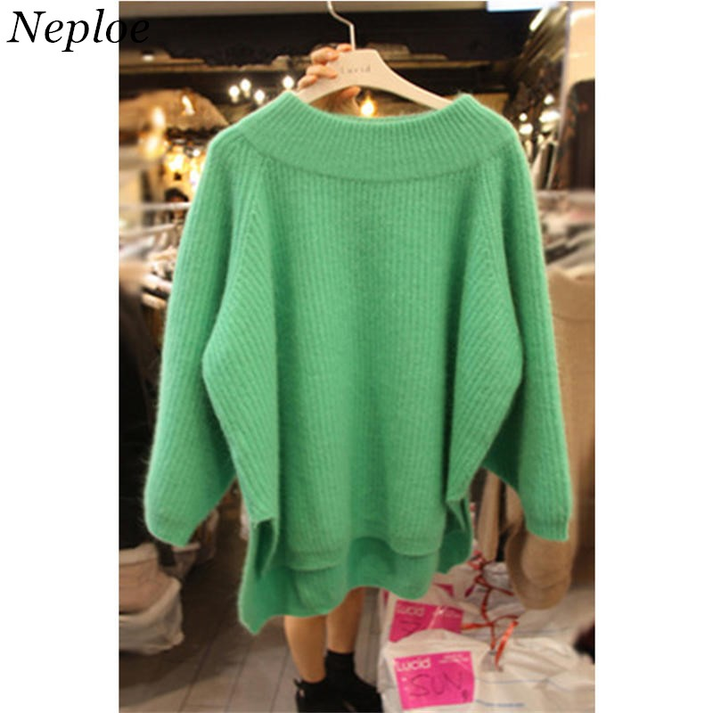 Neploe Pull Femme Korean Pullover Sweater 2019 Autumn Winter Causal Green Sweaters Irregular Hem Split Knitted Top Jumpers 51512
