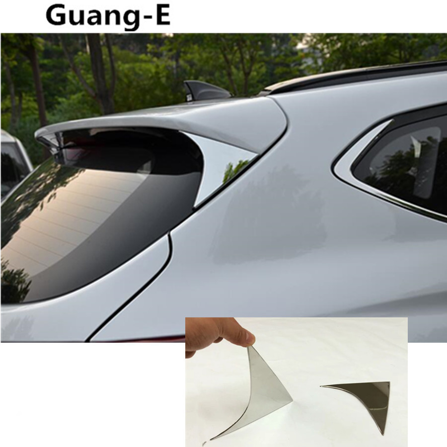 Car tail Rear Spoiler side triangle Molding WINDOW bezel trim moulding 2pcs For Hyundai Tucson 2015 2016 2017