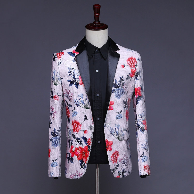 Herren Pailletten Blazer Masculino Verziert Blazer Hombre Blazer Homme Glitter Jacke Männer Floral Anzug Jacke