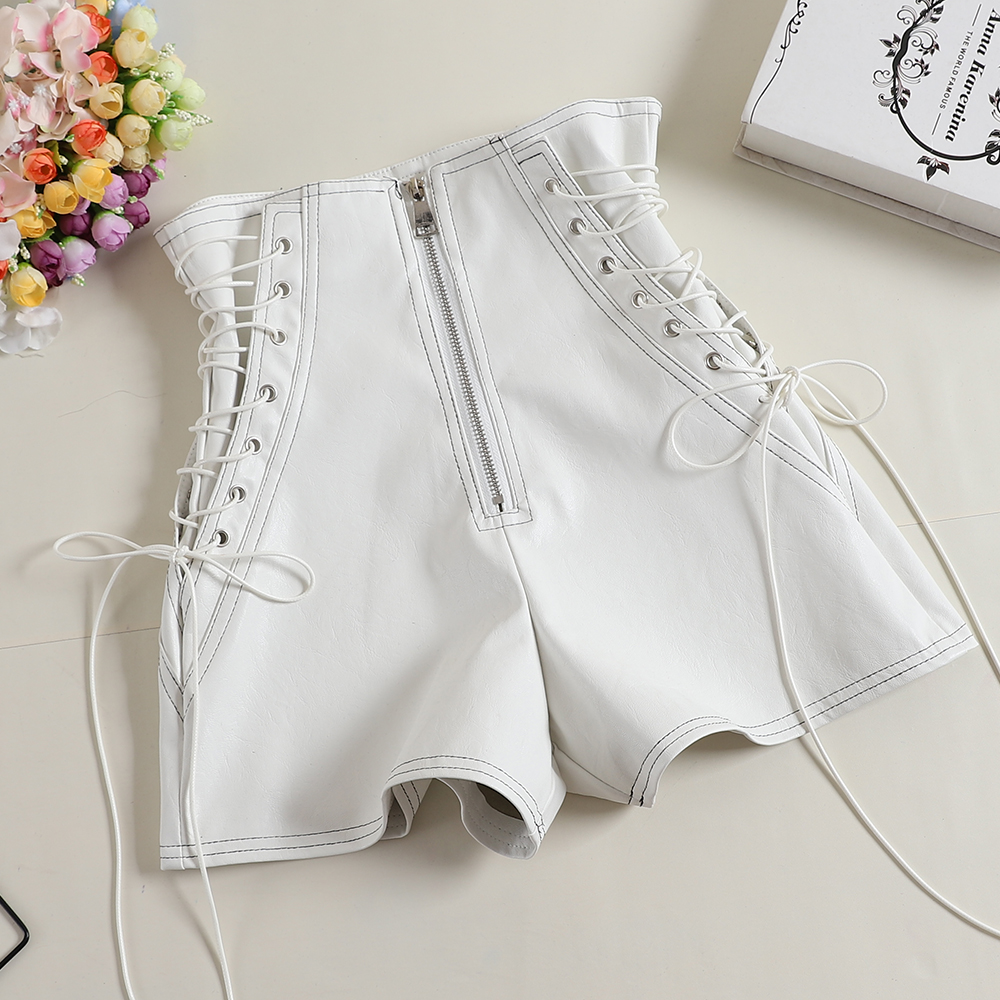 MUMUZI lace up leather   shorts   american fashion new black and white leather   shorts   simple design casual high waist   shorts   female