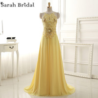 2016 Sexy Yellow Backless Long Prom Dresses New Fashionable Beads Sequins Chiffon Party Gowns Vestido De