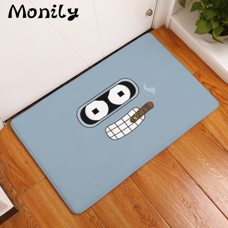 Monily Flannel Waterproof Anti Slip Door Mat Simple Funny Cartoon Carpets  Bedroom Rugs Decorative Stair Mats Home Decor Crafts