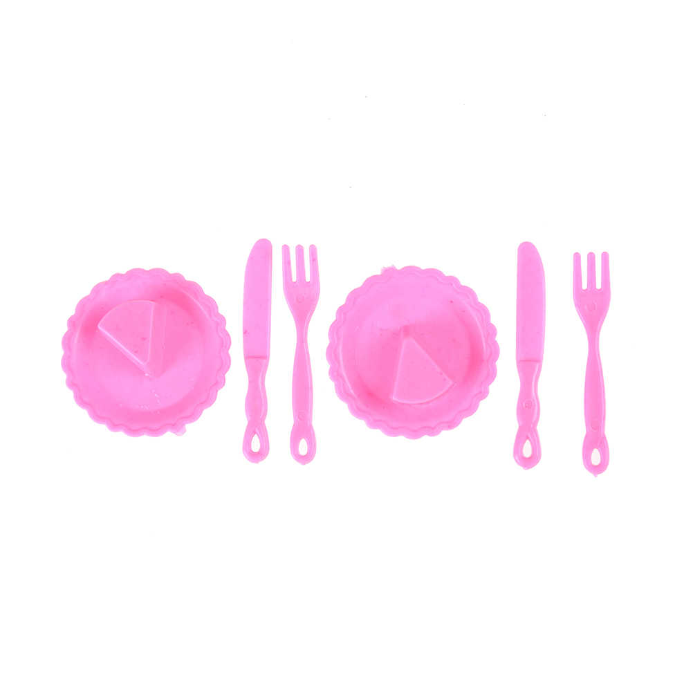 12Pcs/set Mini Plastic Furniture dollhouse kitchen tablewares Knife Dishes For for   Doll House Decor