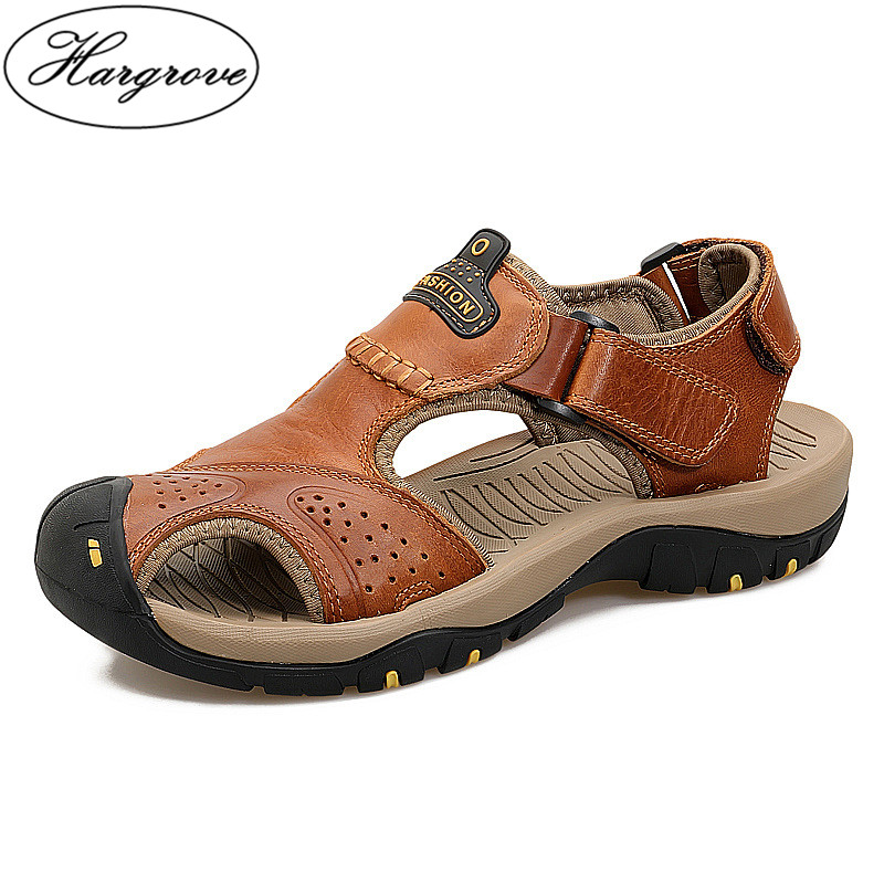 2018 New Men Summer Sandals Genuine Leather Brand New Beach Men Sandals Breathable Slippers High Quality Men Casual Shoes