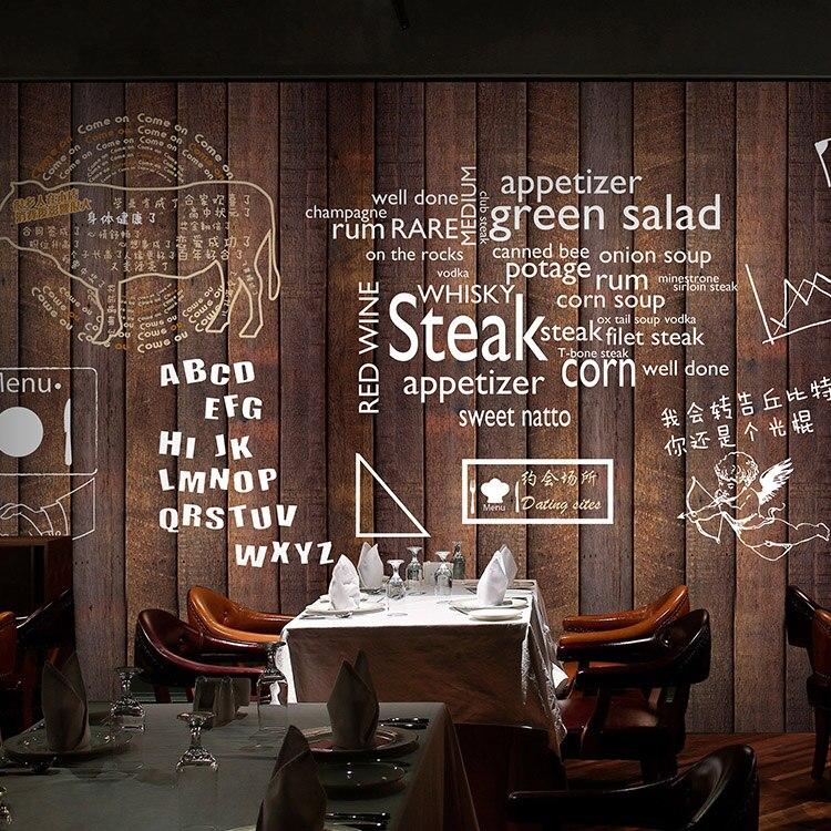 Tamano Personalizado Foto 3d Madera Retro Restaurante Del Papel - Salon-madera