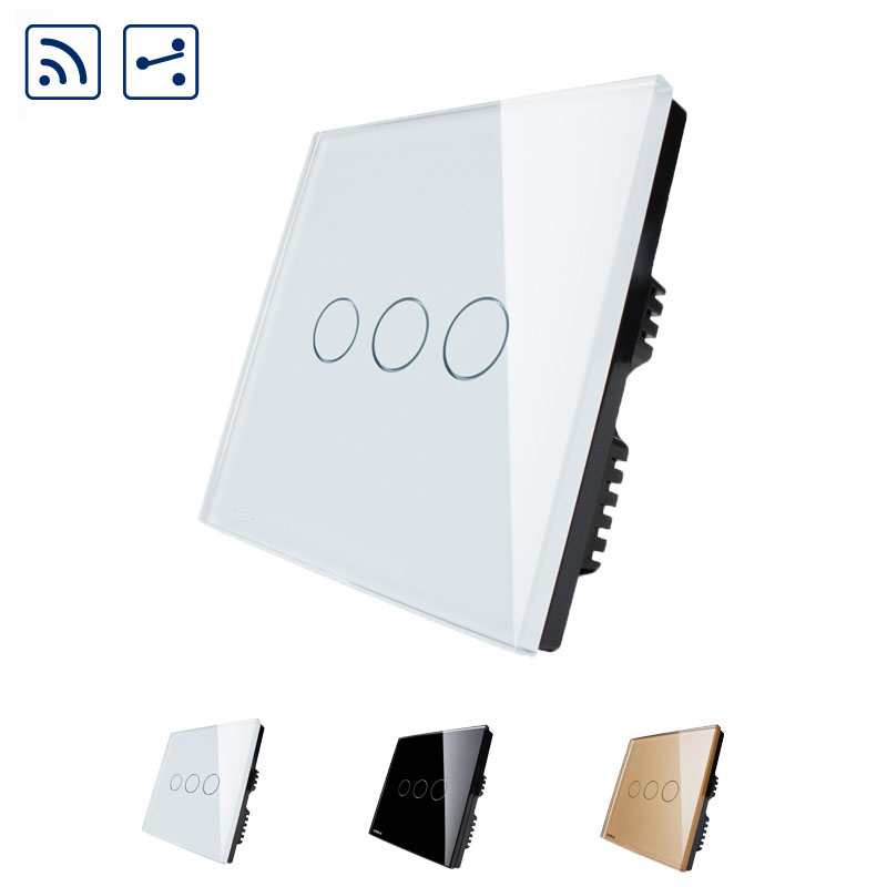 Free shipping,Livolo Crystal Glass Panel Wireless Intermediate Remote Home Light Touch Switch 3 Gang 2Way Wall Switches smart home us au wall touch switch white crystal glass panel 1 gang 1 way power light wall touch switch used for led waterproof