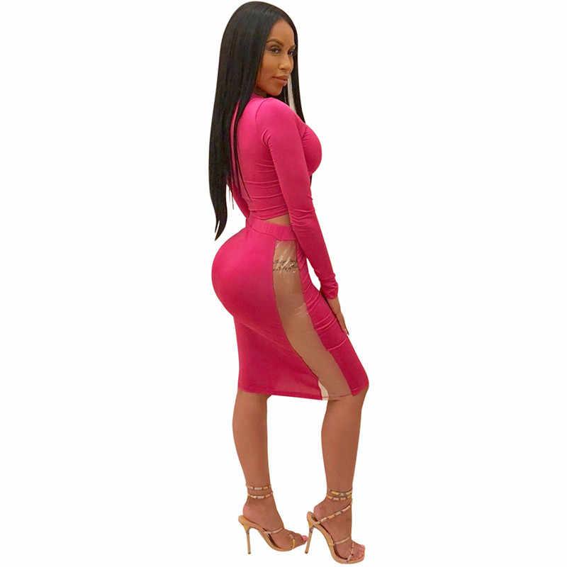 Adogirl/однотонный розовый комплект из двух предметов в стиле пэчворк, укороченный топ с длинными рукавами, миди-юбка с высокой талией, сексуальное облегающее Клубное платье, наряды