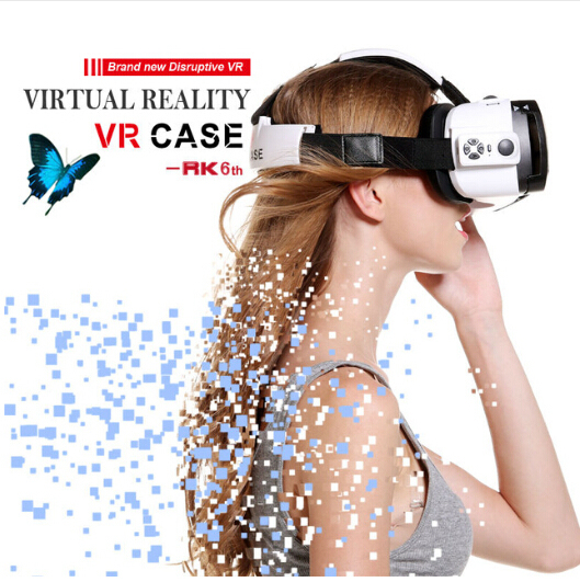 2016 New Stylish Google Cardboard All in One 3D Glasses Virtual Reality Video Box Google 3D VR Case for iPhone7 all Mobile Phone