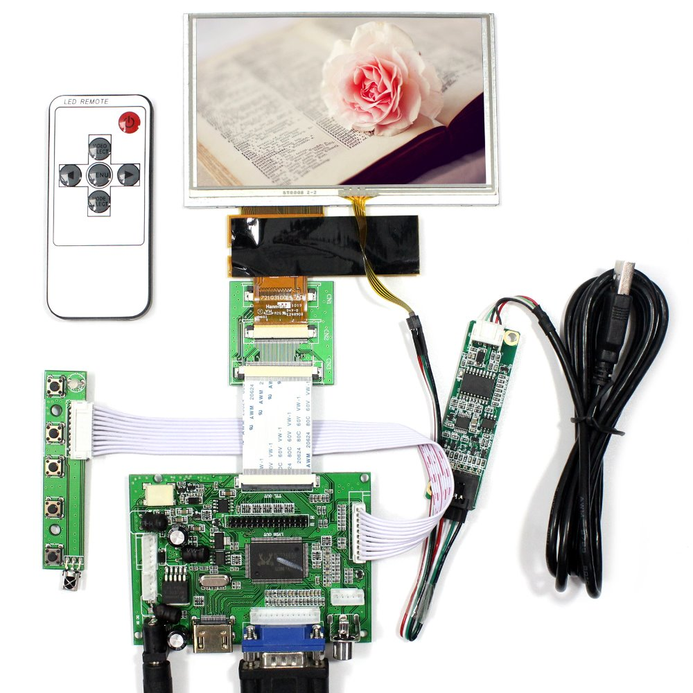 HDMI VGA 2AV LCD Controller Board+5inch HSD050IDW1 800X480 LCD With Touch Panel hdmi vga 2av driver board 7inch 800 480 at070tn93 ej070na 03a touch panel remote