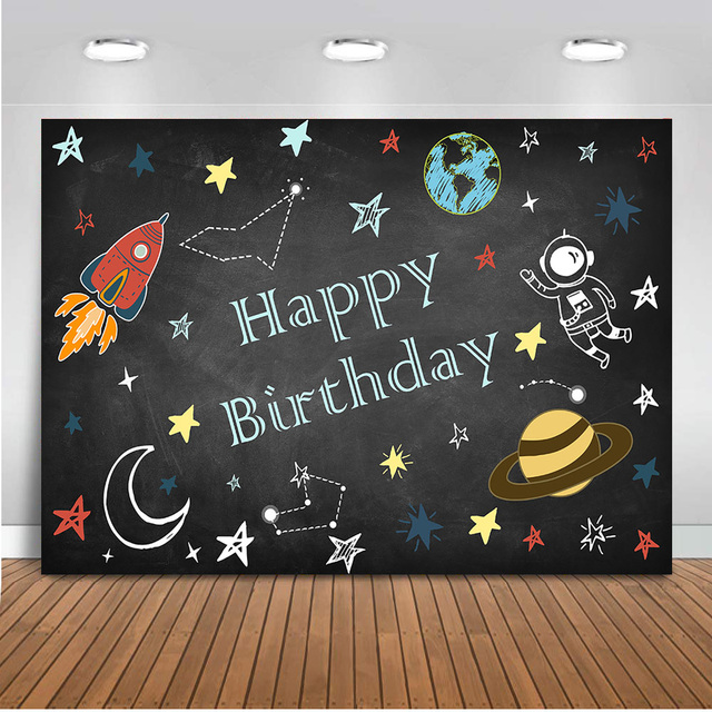 Neoback Happy Birthday photography backdrop newborn baby Space Agency astronaut photo background party decoration banner 516