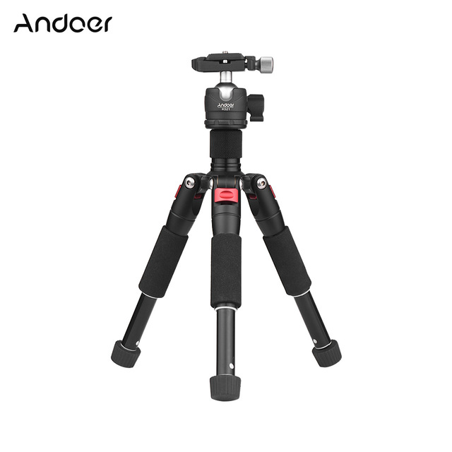 "Andoer K521 5 section Extendable Aluminum Alloy Tripod with Mini Ball Head 1/4""Screw Mount for Canon Nikon Sony DSLR ILDC Camera"