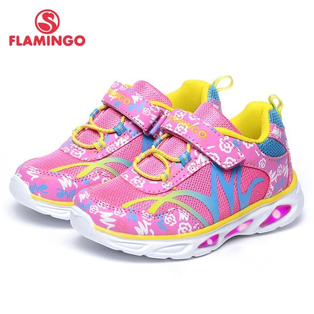 Фламинго Новое поступление 2017 года градиент цвета Дети Осень Hook & Loop кроссовки для девочек со светодиодной 71k-bk-0043/71k-bk-0044