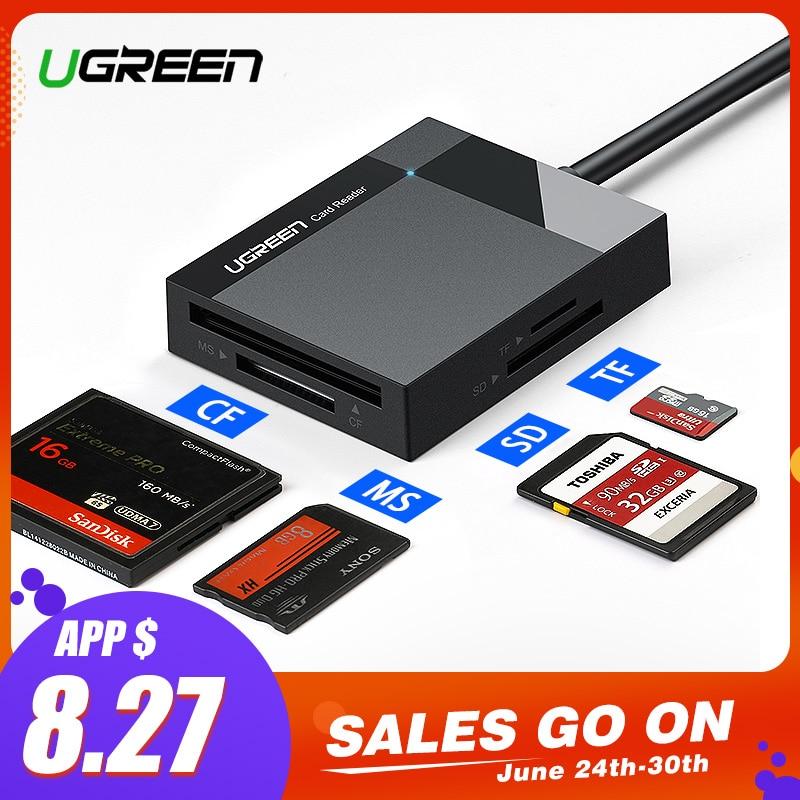 Ugreen lector de tarjetas USB 3,0 todo en uno/SD/Micro SD/TF/CF/MS Compact Flash inteligente adaptador de tarjeta de memoria de tipo C OTG lector de tarjeta SD