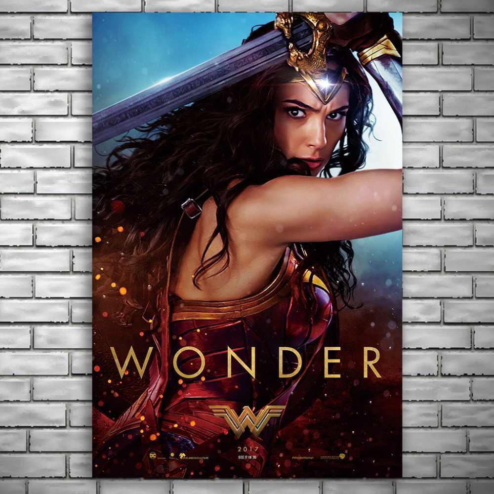 NUOMEE Wonder Woman плакат фильм о супергероях Шелковый плакатный принт 12x18 24x36 дюймов настенные картины для гостиной украшения дома