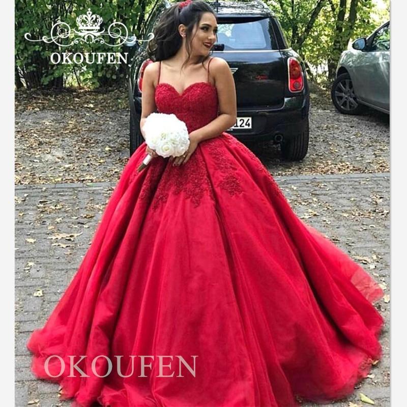 Superbe robe De Quinceanera rouge 2019 robe De bal bouffante à bretelles Spaghetti dentelle longue robes De 15 Anos douce 16 robe De soirée reconstitution historique