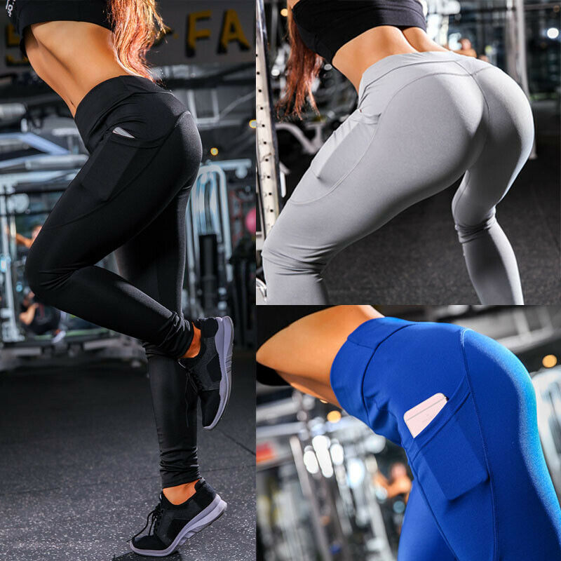 2019 New Ladies Fitness Leggings Running Gym Stretch Sports Pants Solid Pocket Skinny Slim High Waist Ankle Length