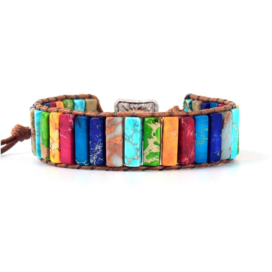 7 Chakra Bracelet Jewelry Natural Stone Tube Beads Non Leather Rope Wrap Bracelet Unisex Couples Bangle Bracelets Gifts(China)