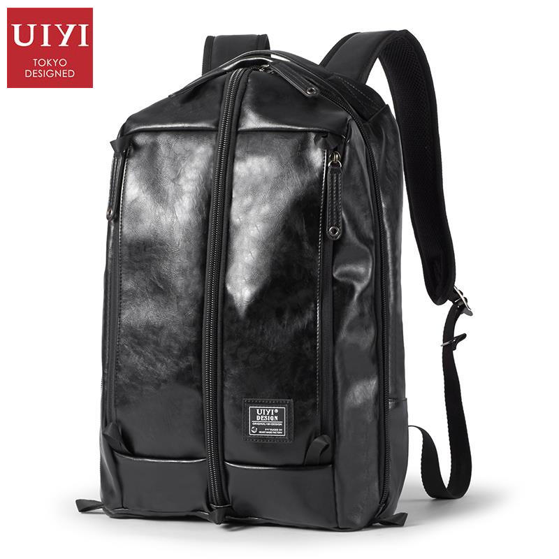 uiyi backpack men polyester microfiber pu leather patchwork backpacks for teenagers school rucksack school bags travel 160014 UIYI Brand Design PU Leather Travel Bag College Black Leather School Backpacks For Teenagers Laptop Bag Rucksack 160183
