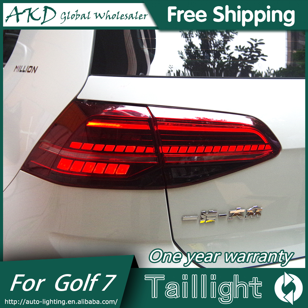 AKD Car Styling for New VW Golf 7 Tail Lights 2013-2017  Golf7 MK7 LED Tail Light GTI R20 Rear Lamp LED DRL+Brake+Park+Signal real carbon fiber mirror cover case for vw golf 7 mk7 gti tsi vii jdm 2013 2015 [1031001]
