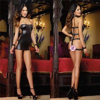Hodisytian Sexy Tape Women Lingerie Latex PU Bodycon Costume Leather Hot Fitness Bandage Bodysuits Chain Wristband Collar