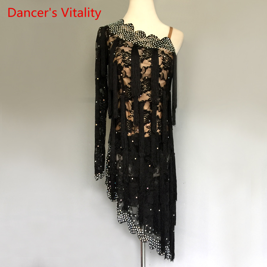 Custom Made Adult Latin Dance Dress Women Clothes Latin Dance Performance Costumes Sexy Single Shoulder Diamond Tassel Dresses