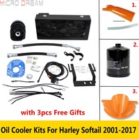 1 Set Motorcycle Black Dual Fans Oil Cooler Cooling System Kits For Harley Softail 2001 2017 Fat Boy Breakout FLSTC FLSTN FXSB