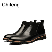 Men's boots Genuine leather pointed mens shoe 2017 spring autumn new fashion Martin Short  boots men shoes rain