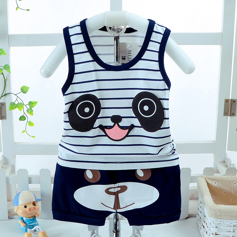 2019 new  Boy Vest Set Boy Cotton Cartoon Pentagram Print + Shorts 2pcs Set baby casual clothing sets