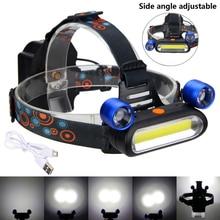 8000 Lumens Adjustable Brightness Headlamp 3 x COB LED Headlight Modes Outdoor Camping Lights