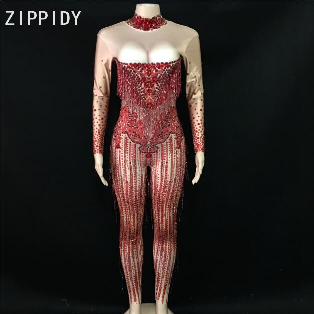 Bright Red Rhinestones Tassel Spandex Jumpsuit Women Dance Birthday Celebrate Bar Big Stretch Jumpsuit Singer Costume Outfit