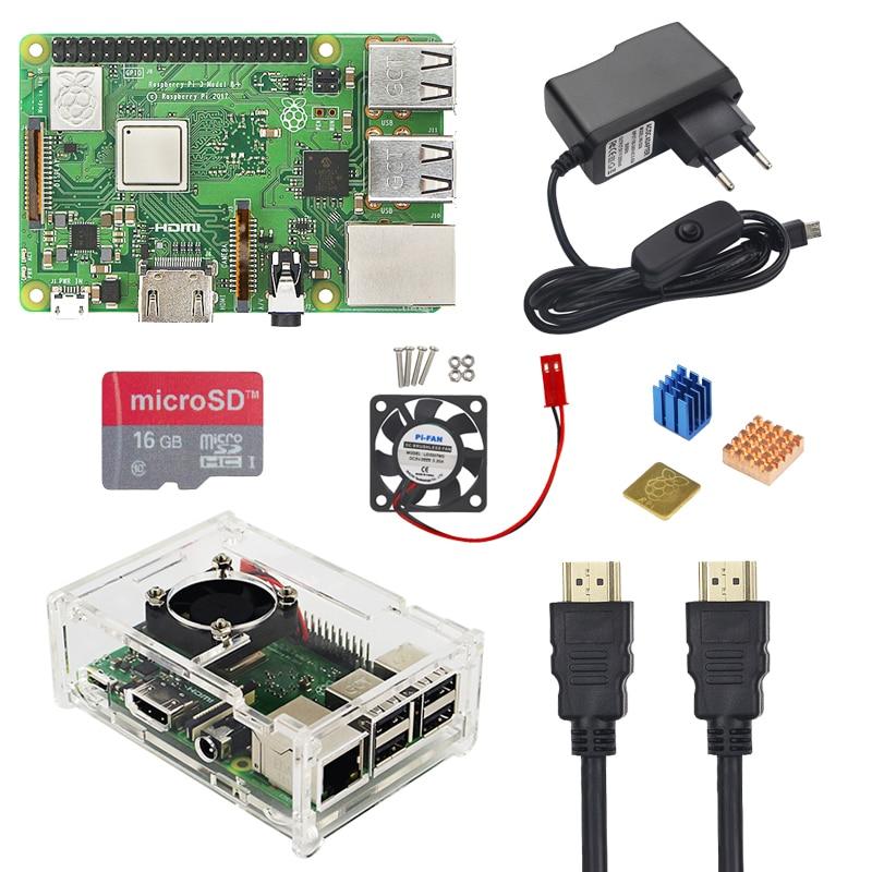 Великобритания RS Raspberry Pi 3 Модель B + плюс комплект 16 32 ГБ карта Micro SD + вентилятор + 2.5A переключатель Мощность адаптер + HDMI кабель для Raspberry Pi 3 B +