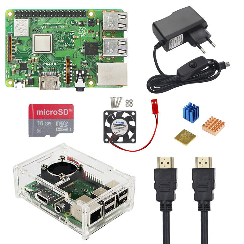 Великобритания RS Raspberry Pi 3 Модель B + плюс комплект 16 32 ГБ Micro SD карта + вентилятор + 2.5A переключатель адаптер питания + HDMI кабель для Raspberry Pi 3 B +