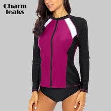 Charmleaks Women Long Sleeve Zipper Rashguard Shirt Swimsuit Patchwork Swimwear Surfing Top Hiking Rash Guard UPF50+