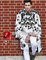 S-5XL! 2016 NUEVA moda hombre delgado discoteca escenario DJDS traje de flores de Salpicaduras de tinta más tamaño trajes de la Etapa cantante formales vestido