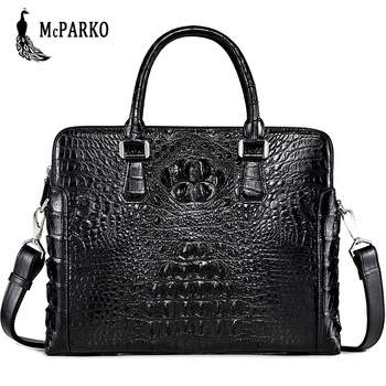 Genuine crocodile leather briefcase men Fashion alligator skin laptop Bag High-end business bags black