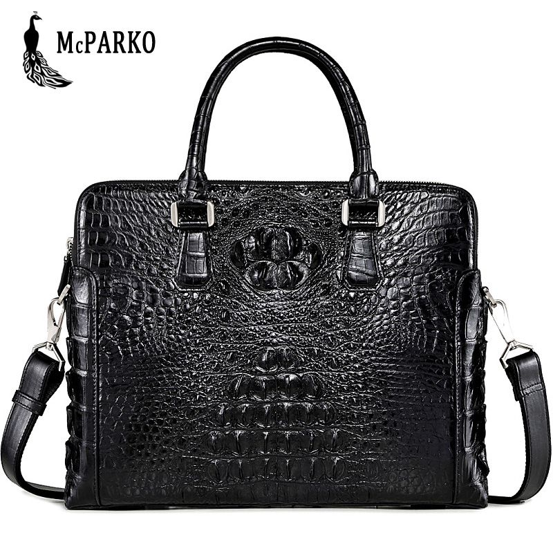 Véritable crocodile mallette en cuir pour homme mode alligator peau sacoche pour ordinateur portable sac hommes haut de gamme sacs d'affaires noir