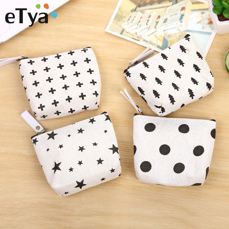 eTya Canvas Small Coin Purse Women Cartoon Cute Mini Change Pouch Ladies Key Car Card Money Bag Girl's Short Coin Holder Wallet