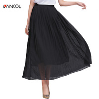 vancol 2017 plus size summer empire ladies beach skirts solid color elegant black pleated skirt women long skirt chiffon