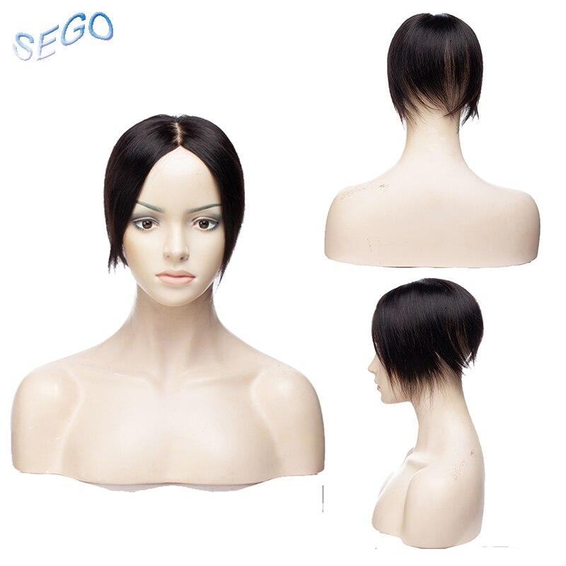 Sego 6 Zoll 15*15 Seide Basis Gerade Haar Topper Toupet Für Frauen 4 Clips In Menschliches Haar Stück Verschluss Nicht-remy Haar 42 Gr/teile Haarteile Haarverlängerung Und Perücken