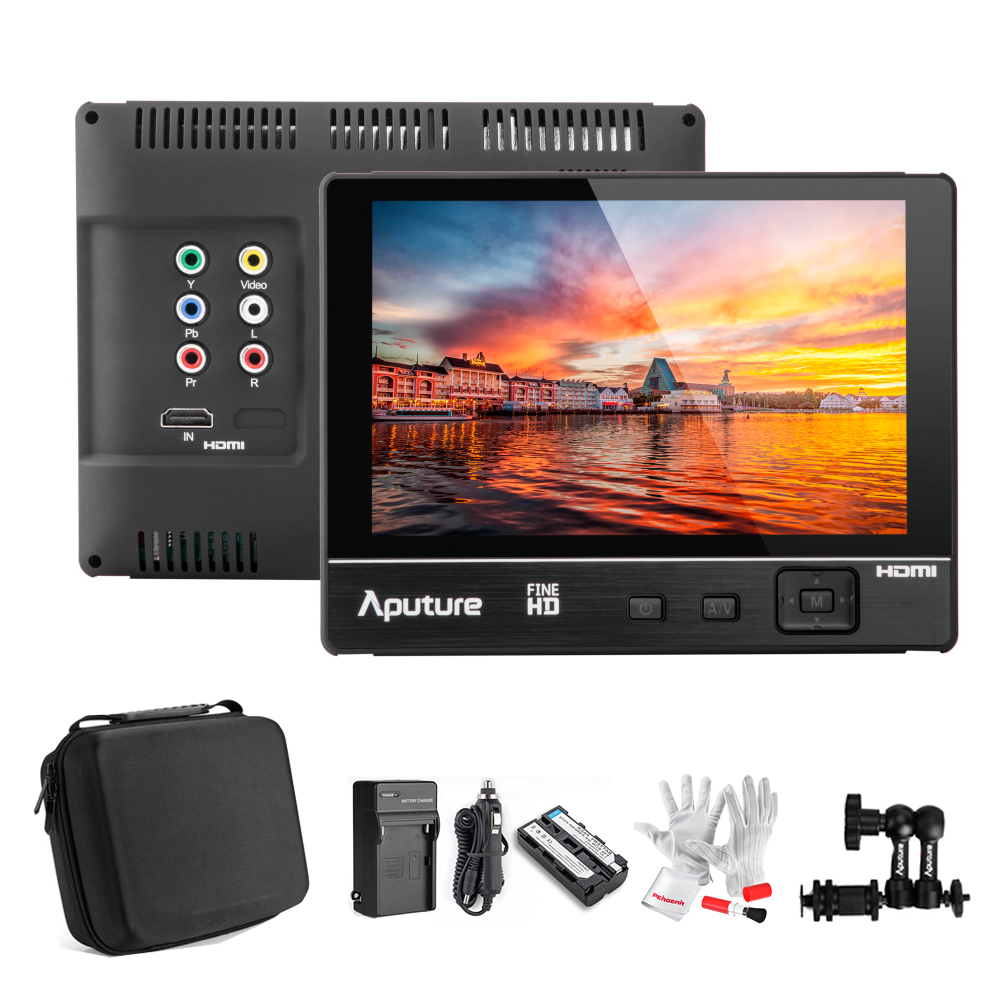 Aputure V-Screen VS-2 FineHD 1920*1200 LCD 7 Field Monitor IPS Panel for Canon Nikon DSLR Camcorder +Sunshade+Battery+Magic Arm aputure vs 5 7 inch sdi hdmi camera field monitor with battery sun hood 11 magic arm rgb waveform vectorscope histogram zebra
