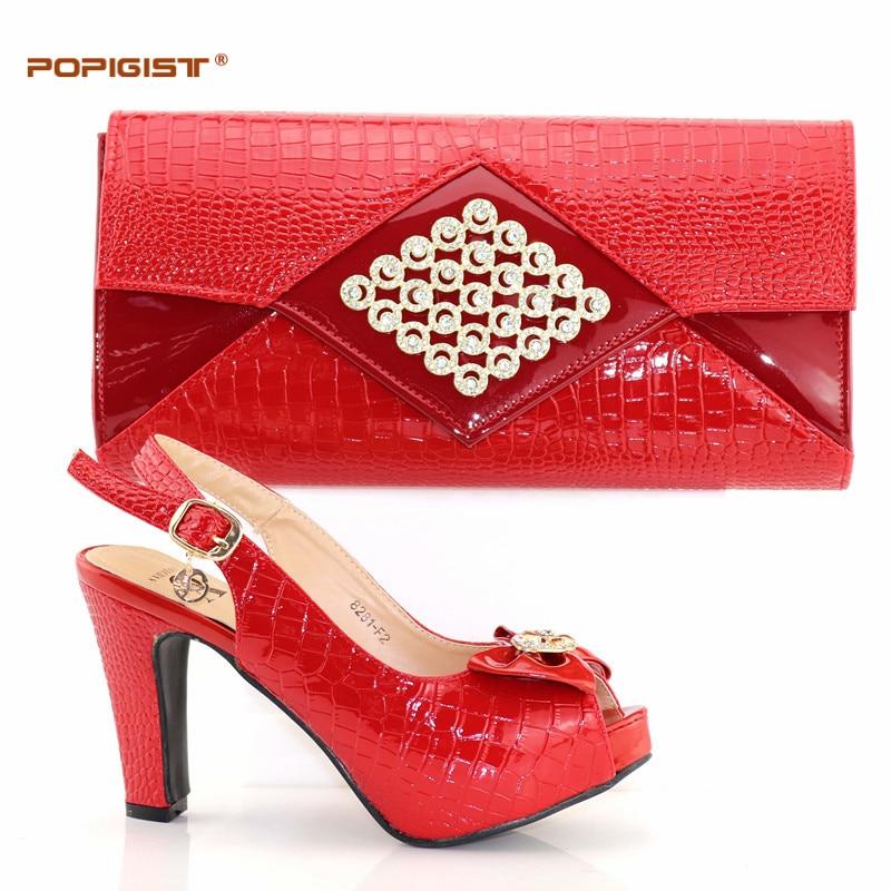 En Bolso Rojo Boda Set Mujer gold Africana Zapatos Color red Bolsa Juego purple Conjunto Y Italiano Italia Alta De Calidad Black A 645zw4q