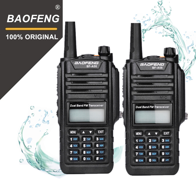2 pcs 100% D'origine Baofeng IP67 BF-A58 Marine Étanche Talkie Walkie 10 km Double Bande UV9R Woki Toki UV-9R Deux way Radio Amador