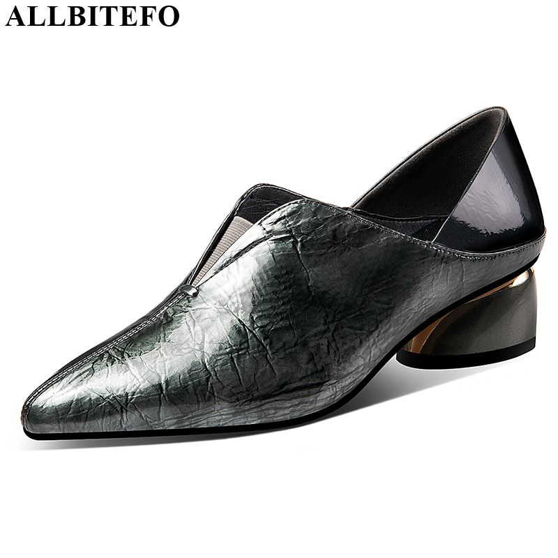 ALLBITEFO Natural Genuine Leather High Heels Women Heels Daily Fashion Ladies Shoes High Quality High Heel Shoes Spring Autumn