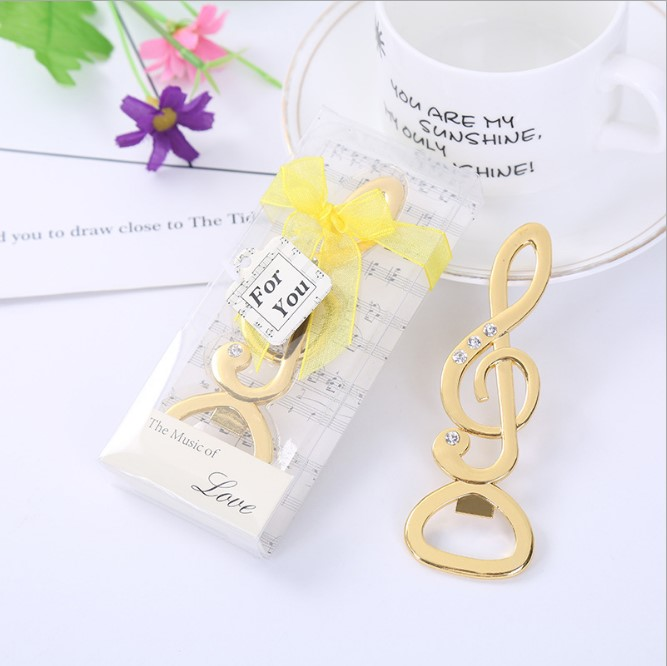 100pcs/lot Fast Shipping Gold Music Note Beer Bottle Opener For Wedding Party Gift Favor