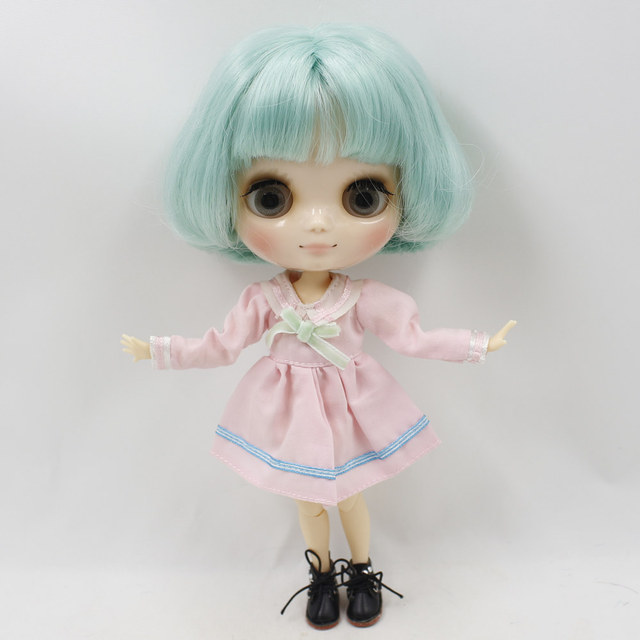 Middie Nude Blyth Doll with mint green short bob hair 20cm DIY Toys BJD with Gestures Free Shipping No.BL4006