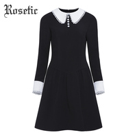 Rosetic Gothic Dress Black Women Autumn A Line Peter pan Collar Slim Waist Street Fashion Retro Preppy Goth Dresses Winter