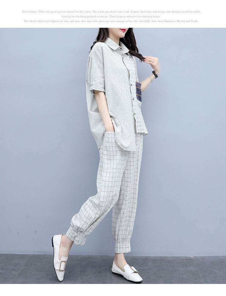 Summer Plaid Two Piece Sets Outfits Women Plus Size Short Sleeve Shirts And Pants Suits Casual Fashion Loose 2 Piece Sets Mujer 35